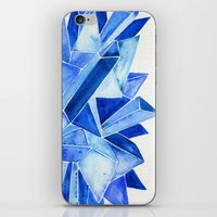 minerals iPhone & iPod Skins featuring Sapphire Watercolor Facets by Cat Coquillette