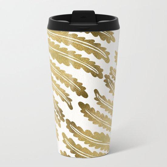 Golden Fern Leaf Metal Travel Mug