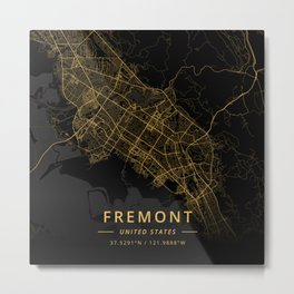 Fremont, United States - Gold Metal Print