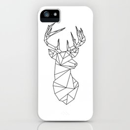 Geometric Stag (Black on White) iPhone Case