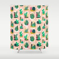 garden Shower Curtains featuring Terrariums - Cute little planters for succulents in repeat pattern by Andrea Lauren by Andrea Lauren Design