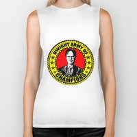 dwight schrute Biker Tanks featuring Dwight Schrute (Dwight Army Of Champions) by Silvio Ledbetter