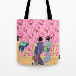 Hokusai People & Sakura  Tote Bag