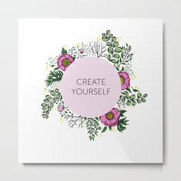 Create Yourself - Floral Wreath Metal Print