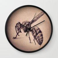 bee Wall Clocks featuring Bee by Werk of Art