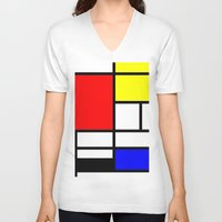 mondrian V-neck T-shirts featuring Mondrian by  Can Encin