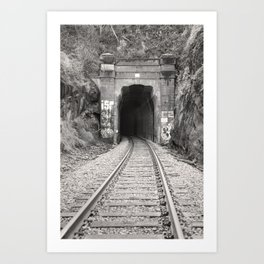 Bellingham Railroad Tunnel, Washington Trains, Northwest Landscape, Sepia Print Art Print