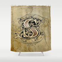 monogram Shower Curtains featuring monogram s by Art Lahr