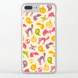 Neon Halloween Pattern - Eggshell Background Clear iPhone Case