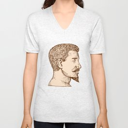 Male Goatee Side View Etching Unisex V-Neck