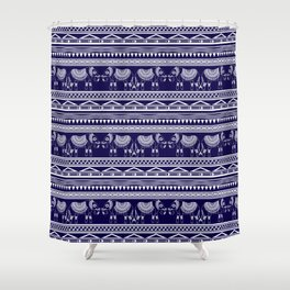 White and Navy Blue Elephant Pattern Shower Curtain
