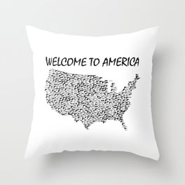Welcome to America Guns Map Throw Pillow