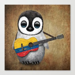 Baby Penguin Playing Colombian Flag Acoustic Guitar Canvas Print