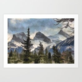 The Three Sisters - Canadian Rocky Mountains Art Print