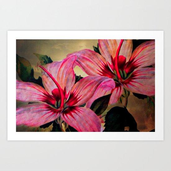 Vintage Painted Pink Lily Art Print