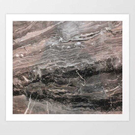 Smokey gray marble Art Print