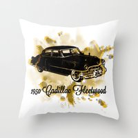 """fleetwood mac Throw Pillows featuring 1950 Cadillac Fleetwood """"Caddy"""" by SpecialTees"""