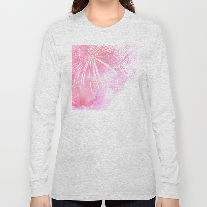 Abstract Pink Palm Tree Leaves Design Long Sleeve T-shirt