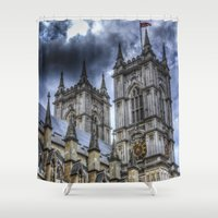 downton abbey Shower Curtains featuring Westminster Abbey London by David Pyatt