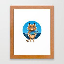 Cat & Fish Framed Art Print