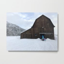 Barn on Christmas Day Metal Print