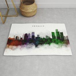 Detroit Watercolor Skyline Rug