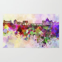 Rome skyline in watercolor background Rug