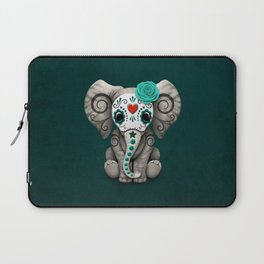 Teal Blue Day of the Dead Sugar Skull Baby Elephant Laptop Sleeve
