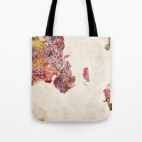 copenhagen Tote Bags featuring Copenhagen by MapMapMaps.Watercolors