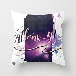 Tardis' Allons-y Throw Pillow