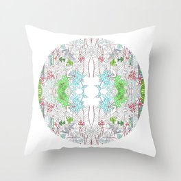 Jungle line art mandala Throw Pillow