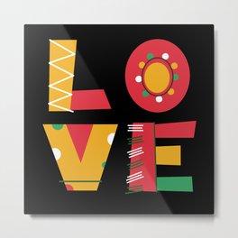 L O V E love block letters monogram colourful Metal Print