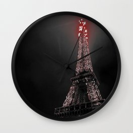 Red Eiffel Wall Clock