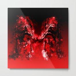 wolves hate monday splatter watercolor red Metal Print