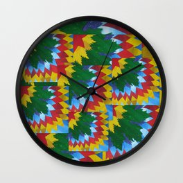 collage of math book paper painted leaves  Wall Clock