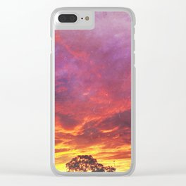 Sunset Inferno Clear iPhone Case