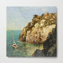 Boat Moored at Fort Wetherill, Conanicut Island, Jamestown, Rhode Island by James Gale Tyler Metal Print