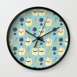 Lucky Cat Japanese Wall Clock