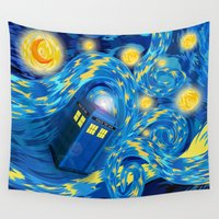 221b Wall Tapestries featuring Blue Phone box Starry the night iPhone 4 4s 5 5c 6, pillow case, mugs and tshirt by Three Second
