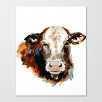 craftberrybush Canvas Prints featuring  Cow watercolor by craftberrybush