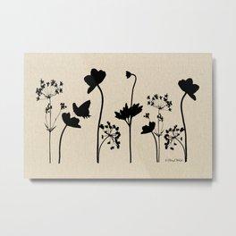 Dark Shadow Butterfly Garden Metal Print