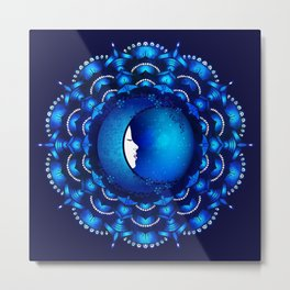Flower Moon Mandala Metal Print