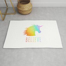 Believe     Rainbow Glitter Unicorn Rug