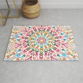 Colourful Floral Mandala Star Rug