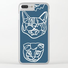 Blue and White Silly Kitty Faces Clear iPhone Case