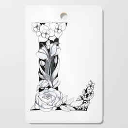 Floral Pen and Ink Letter L Cutting Board