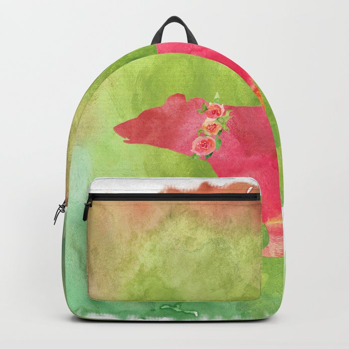 Bear  with flowers - Animal watercolor illustration on #Society6 Backpack