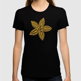 Retro Brown Blue Yellow Gold Polynesian Flowers Pattern T-shirt