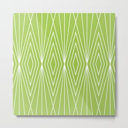 Simple Modern Diamond Lines Chartreuse Metal Print