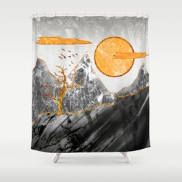 Marble mountains and the fire tree Shower Curtain